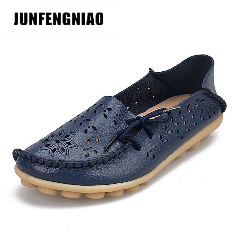 JUNFENGNIAO Plus Ballet Summer Cut Out Women Genuine Leather Shoes Woman Flats Flexible Round Toe Nurse Casual Fashion HC-911-2 2017 summer new women fashion leather nurse teacher flats moccasins comfortable woman shoes cut outs leisure flat woman casual s