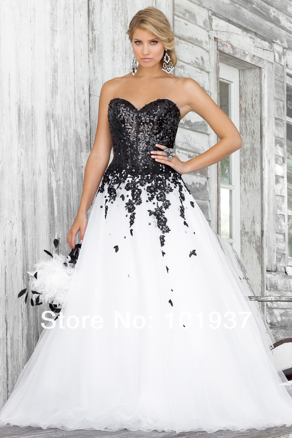 Popular Black and White Ball Gown Prom Dress-Buy Cheap Black and ...