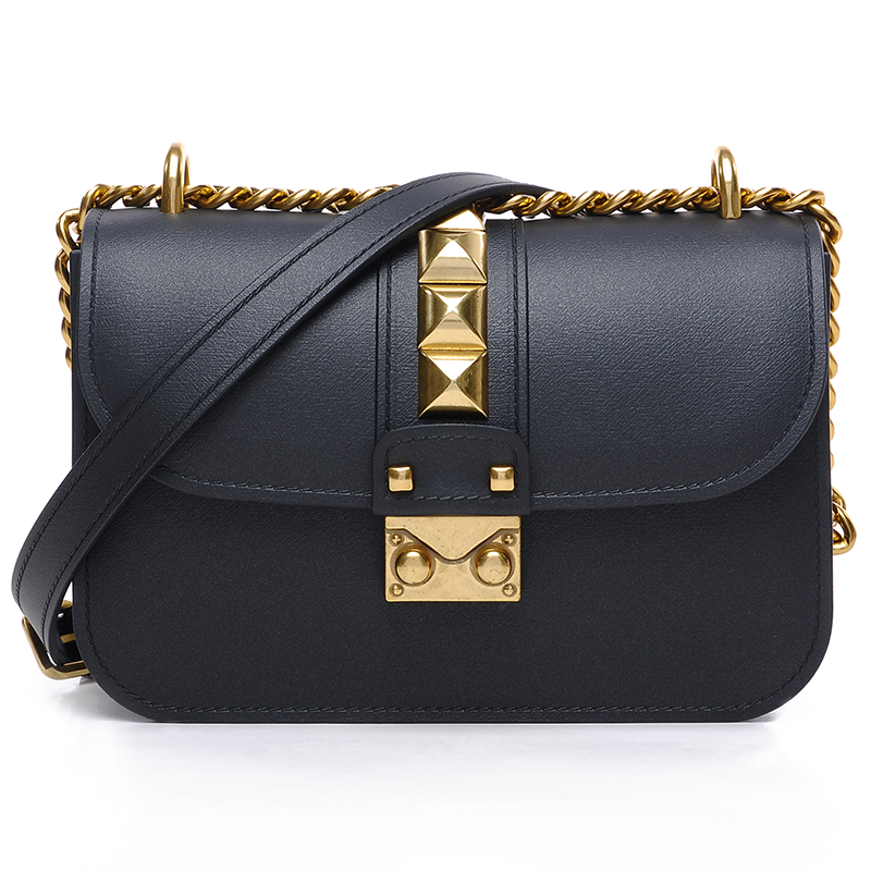 Luxury Fashion Trend Leather Women Messenger Bags Gold Rivets Chain Small Flap Shoulder Bag Solid Color Famous Brand Handbag Sac
