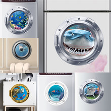 3d vivid Submarine Porthole Wall Stickers Refrigerator Bathroom Home Decoration Shark Fishes Mural Art Pvc Decal(China)
