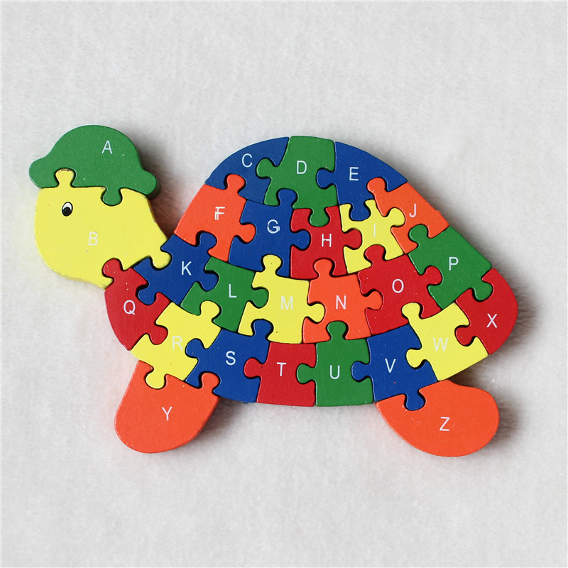 JP064 Double Sides Children Wooden Toys Alphabet Number Building Jigsaw Puzzle Turtle Funny Digital Puzlzle Game Educational