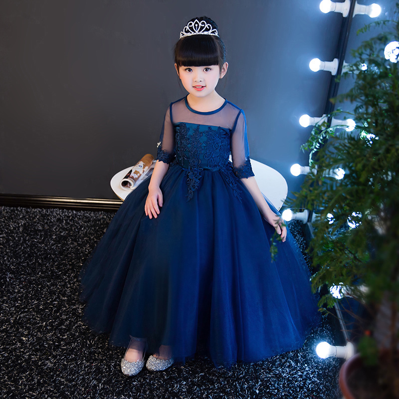 Summer Autumn New Children Girls Elegant Birthday Evening Party Princess Lace Ball Gown Dress Kids Babies Host Pageant Dress 2018 summer new children girls elegant noble birthday wedding party lace princess dress kids hand made beading ball gown dress