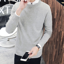 LEFT ROM 2017 Selling men's fashion high grade pure color long neck knitted Pullover Sweater Business casual sweater/S-XXXL