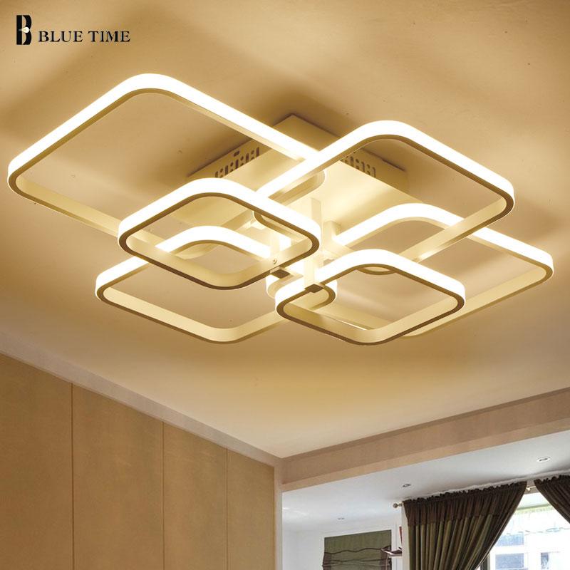 cheapest Home Modern Led Ceiling Light For Foyer Living room Bedroom Lights  Square Chandelier Ceiling Lamp White Black Lighting Fixtures
