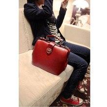 New Gift Fashion Box Handbag Retro Messenger Bag Leisure Ladies Doctor Bag Handbag Red Black For Women