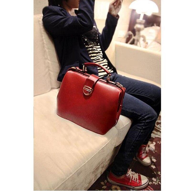New Gift Fashion Box <font><b>Handbag</b></font> Retro Messenger Bag Leisure Ladies Doctor Bag <font><b>Handbag</b></font> <font><b>Red</b></font> Black For Women