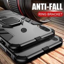 Voor huawei honor 10 lite case Armor Ring Magnetische Auto Hold Shockproof Soft Bumper Telefoon Cover Voor huawei honor 10 lite Case