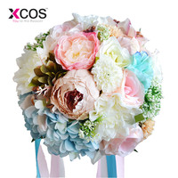 XCOS Silk Wedding Bouquet Artificial Home Party Deco Flowers Bridal Bouquet Rose and pink hydrangea Wedding Bouquets