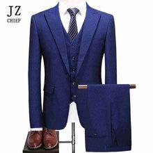 9003ae514368 JZ de CHEF Hommes Imprimer Polka Dot Bleu Royal Costume Vêtements 2018  Nouveau Blazer De Luxe 3 pièce Costumes Slim Fit robe d'a.