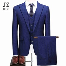 JZ CHIEF Men's Print Polka Dot Royal Blue Suit Clothing 2018 New Blazer Luxury 3 Piece Suits Slim Fit Business Dress Suit Jacket