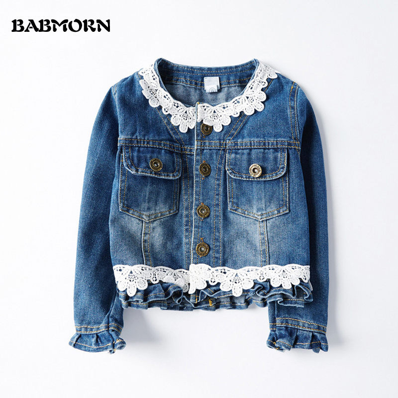 New Girls Denim Jackets Baby Lace Outerwear Jackets For 2 -8485