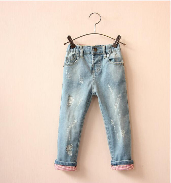 Y1558646 Retail 2016 Spring Summer Baby Girls Jeans Solid Elastic Waist Distrressed Girl Pants Denim Fashion Grils Clothes