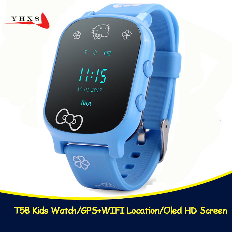 2018 New T58 Smart Kids Safe OLED SOS Call GPS LBS Location Finder Tracker Child Elder Remote Monitor Baby Wristwatch Watch oled screen black t58 smart gps lbs tracker locator phone watch for kids elder child student smartwatch with sos remote monitor