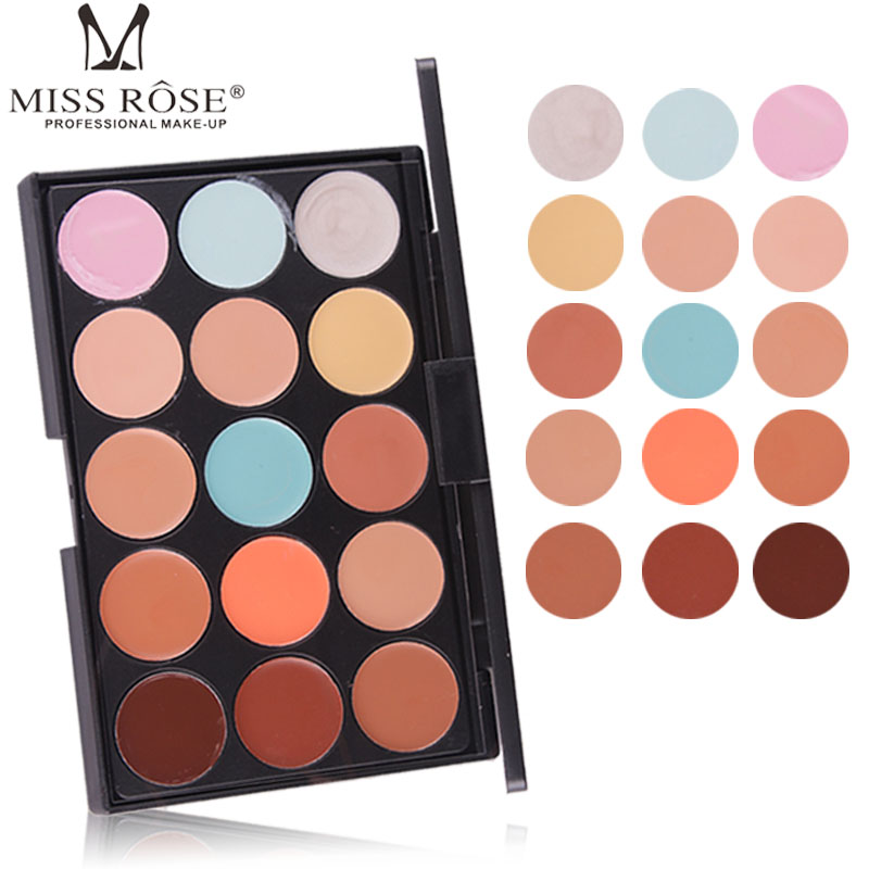 Miss Rose Concealer Palette 15 Color Cover Dark Circles Long Lasting Face Make Up Foundation Cream