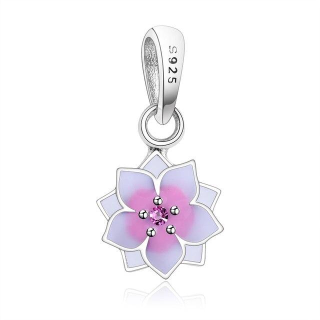 882b94a06 2018 Spring Pink Enamel Magnolia Bloom Hanging Charms 925 Sterling Silver CZ  Flower Bead Fit Pandora Charm Bracelet DIY Berloque