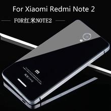 For Xiaomi Redmi Note 2 Phone Cases, Luxury Aluminum Frame & Tempered Glass battery back cover for Xiaomi Redmi Note2 Back Case