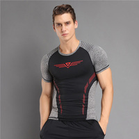 Breathable Stitching Men T Shirt Compression Shirt Marvel Body Engineers Fitness Sports Summer Tee Shirt Homme