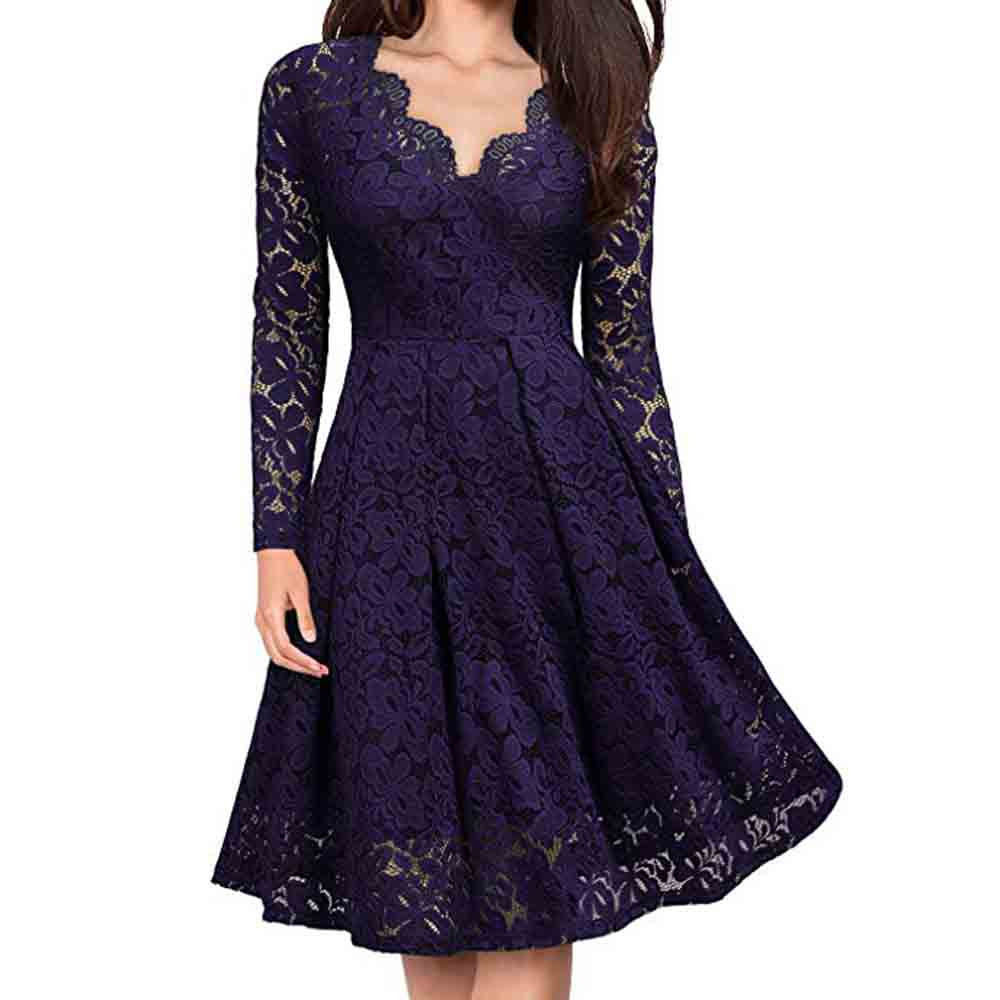 Winter Party Dress Women Clothes 2019 Gothic Long Sleeve Lace Dresses Woman Party Night V Neck Black Dress vestidos 1