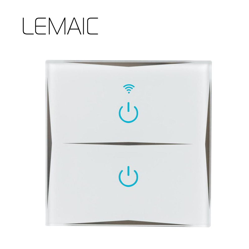 LEMAIC Wall Switch Touch Switch Sensor Switch ST1 2Gang Smart Remote Control Luxury Crystal Glass Panel Surface 2.4G WiFi Smart hot sale 2016 remote control ligth switch 220v crystal glass panel smart wall touch switch 2gang remote light switches