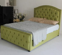Synthetic dark green leather bed