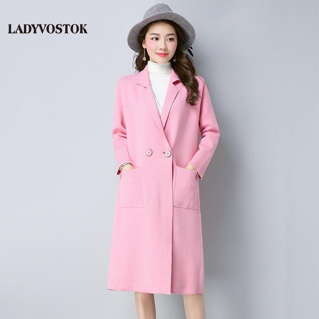 Ледивосток 2018 весна новая мода женский удлиненный вязаный кардиган розовый дамский темперамент теплое пальто Q1742