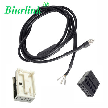 Biurlink 12Pin Audio AUX IN Connector + Cable DIY Adapter For BMW E60 E63 5 6 Series 550i 520d 525d 530xd 535d image