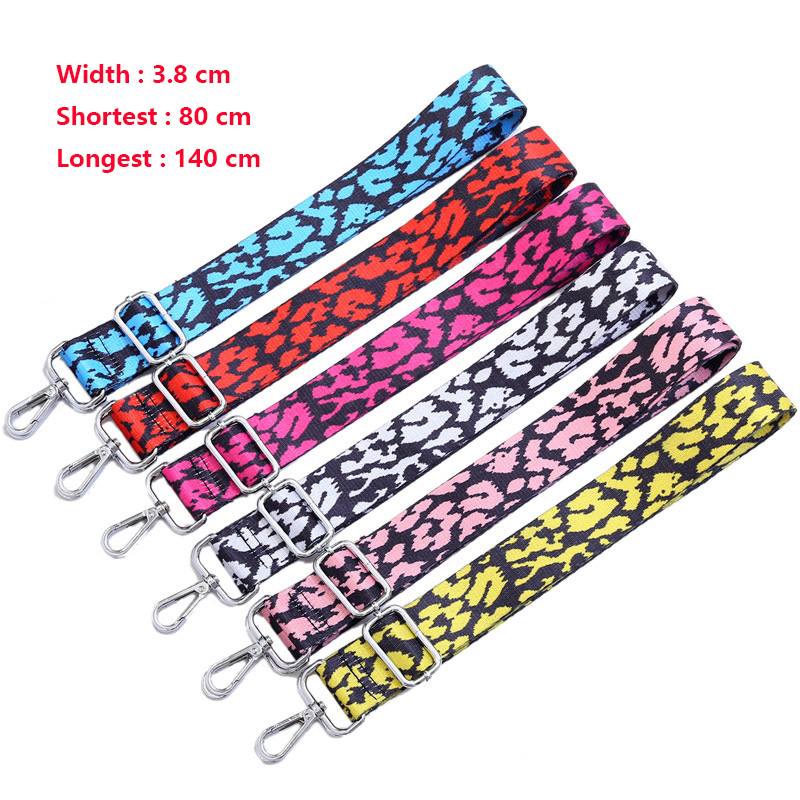 Colored Women Belt Bag Strap Nylon O Bag Accessories Rainbow Adjustable Shoulder Hanger Handbag Strap Decorative Handle Ornament