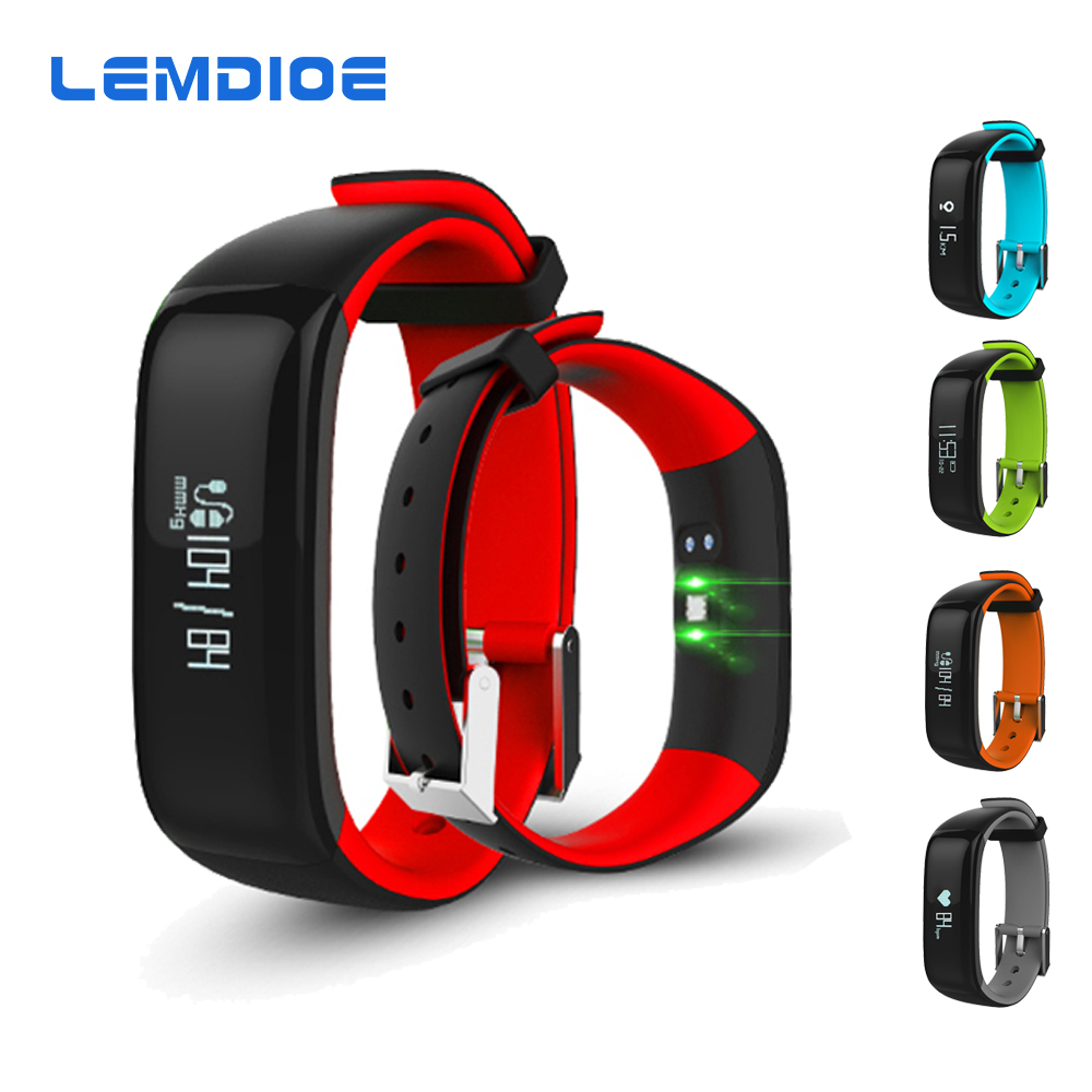 LEMDIOE P1 Bluetooth Smart Bracelet Blood Pressure Heart Rate Monitor IP67 Waterpoof Smart Band Wristband For