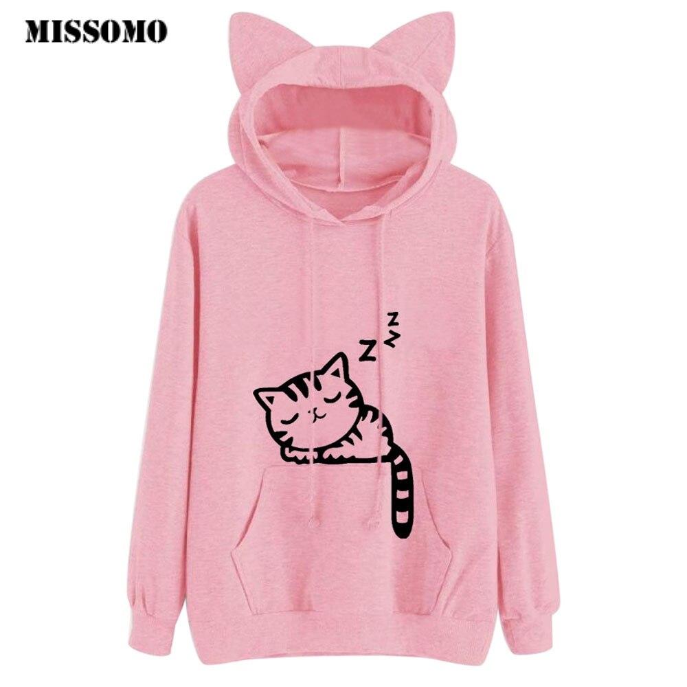 MISSOMO Harajuku Women Hoodies Sweatshirt Kawaii  Ear Hooed Pink Winter Cat Pattern Long Sleeve Moletom Hooded Sweatshirts
