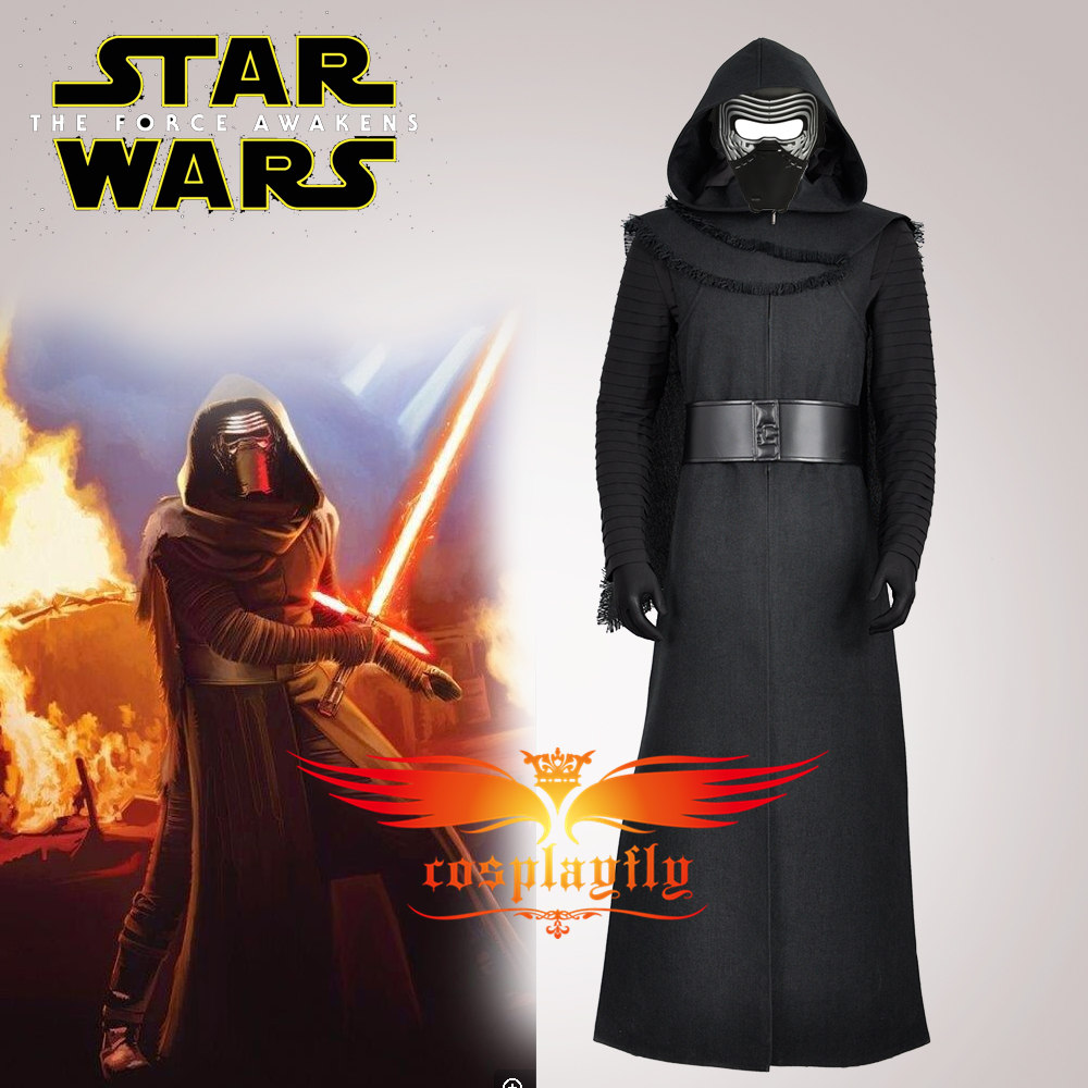 (No Mask)Star Wars 7:The Force Awakens Kylo Ren Adult Black Jacket Coat Moive Jedi Cos Cosplay Costumes Halloween Party W0938
