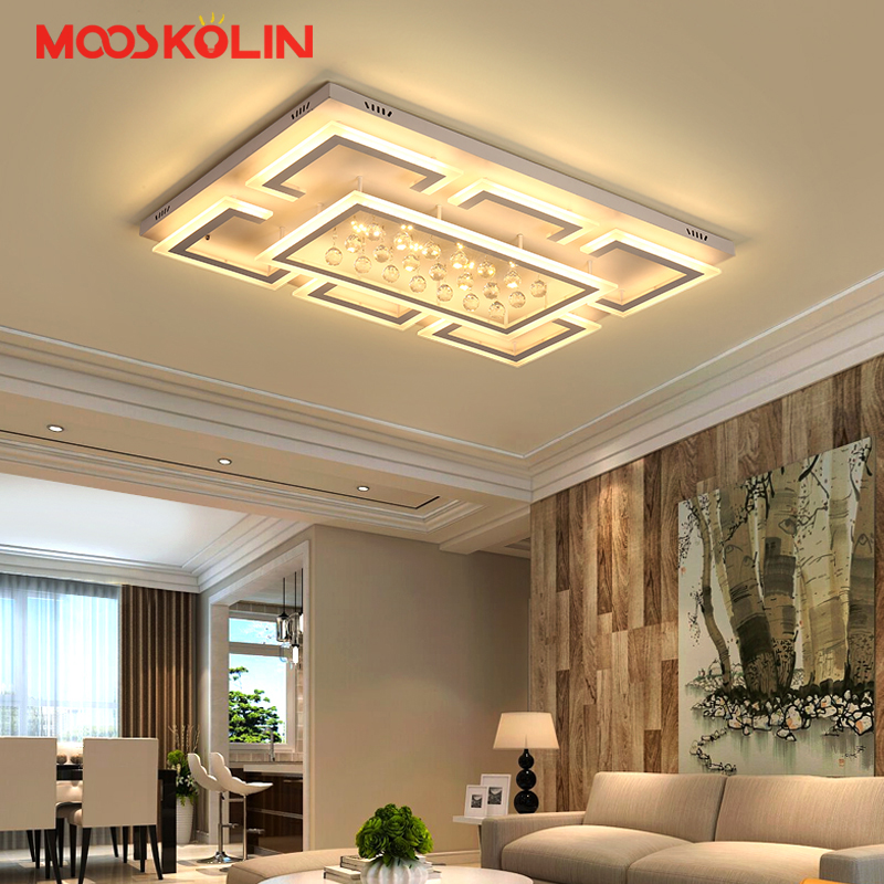 Remote controlling crystal ceiling chandelier modern crystal led ceiling lamps for living room bedroom surface mounted lampara