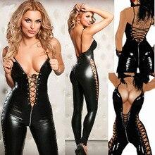 הלבשה תחתונה סקסית חם נשים אסירי עור מפוצל טדי מין Babydoll הארוטי Lenceria מועדון מיני שמלת תלבושות הלבשה תחתונה בתוספת גודל