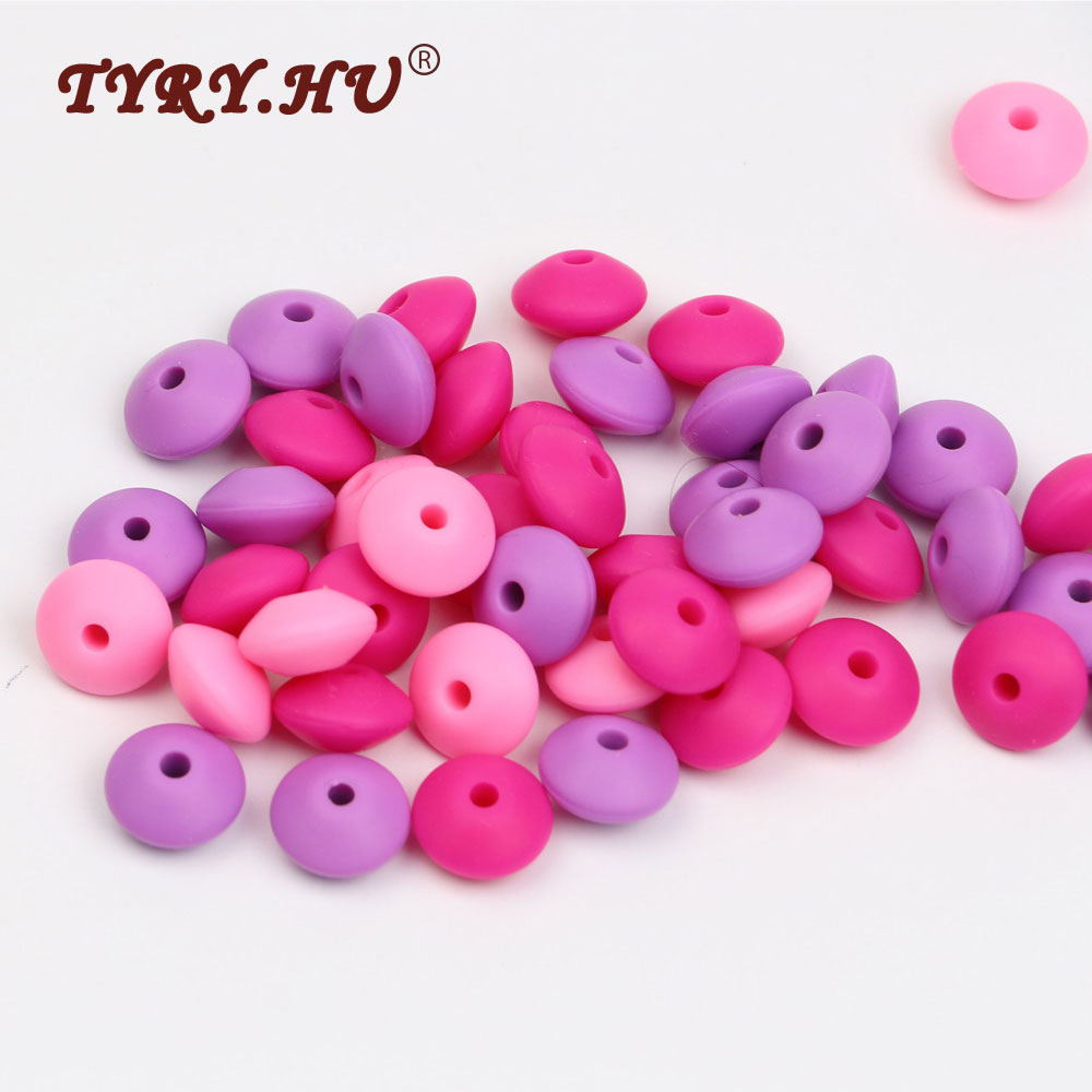 TYRY.HU 100Pcs 12mm Silicone Lensile Beads BPA Free Silicone Teether Bead Lentil Loose Beads For DIY Jewelry Making Teething