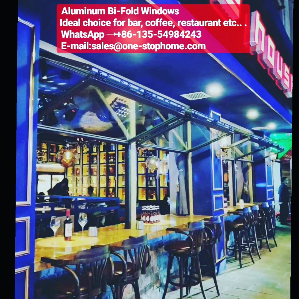 Black Color Aluminum Floding Windows, Aluminum Cafe Windows Design, Aluminum Restaurant Windows For Sale