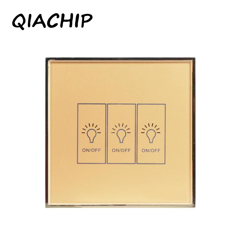 QIACHIP Standard Smart Switch Remote Control/Touch Wall Light 170-240V Surface Waterproof Glass Panel Work with Amazon Alexa k1rf ltech one way touch switch panel ac200 240v input can work with vk remote page 7