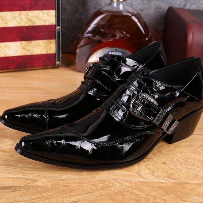 men's genuine leather pointed toe shoes lace-up business dress shoes men British style party wedding fashion buckle high heels 2017 men s cow leather shoes patent leather dress office wedding party shoes basic style pointed toe lace up eu38 44 size