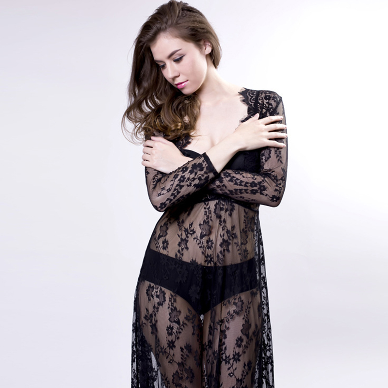 Underwear & Sleepwears Summer Women Maxi Sleep Dress Sexy Lace Nightgowns Deep V Sexy Dress Long Sleeve Black White Sleepwear Nightwear Big Size