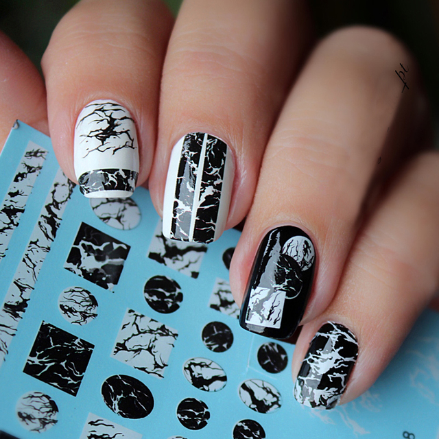 1 Sheet Stone Marble Nail Water Decals Transfer Stickers White Black Art Sticker Manicure