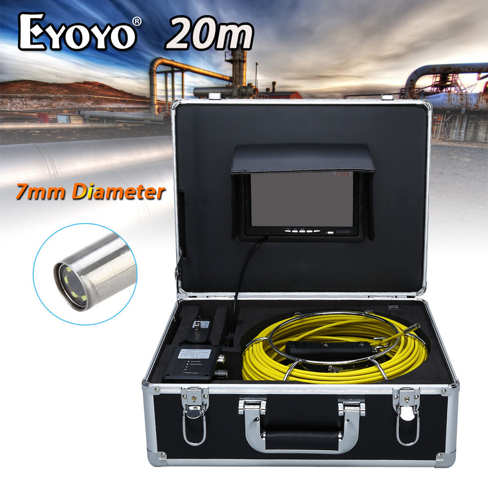 Eyoyo WP70C 20M 7 LCD 7mm Pipe Pipeline Drain Inspection Sewer Video Camera CMOS 1000TVL TFT HD Snake Endoscope 6PCS White LEDS 7 tft sewer pipe inspection snake video camera 600tvl 12 led 30m osd regulation stainless steel lens pipeline drain w2022