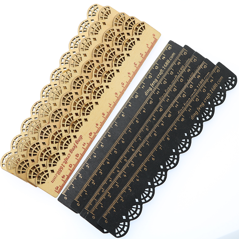 5 Pieces / 15 Cm Retro Hollow Lace Wood Ruler Measuring Ruler School Supplies Stationery Children'S Prizes