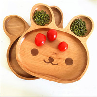 Fashion Wood 3 Compartment Plate Divided Tray Rabbit Appetizer Platter 20 20 4cm Cartoon Rabbit Platter