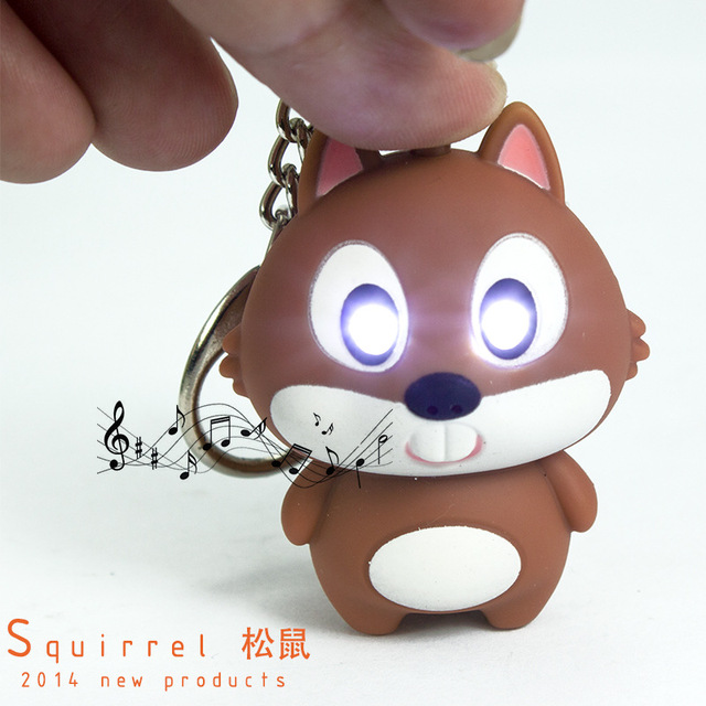 Squirrel light-up toy LED Light+Speak  I Love U! Adorable animal keyring  Bag pendant Giveaway Torch keychain Decoration Totems 8471ff0b7