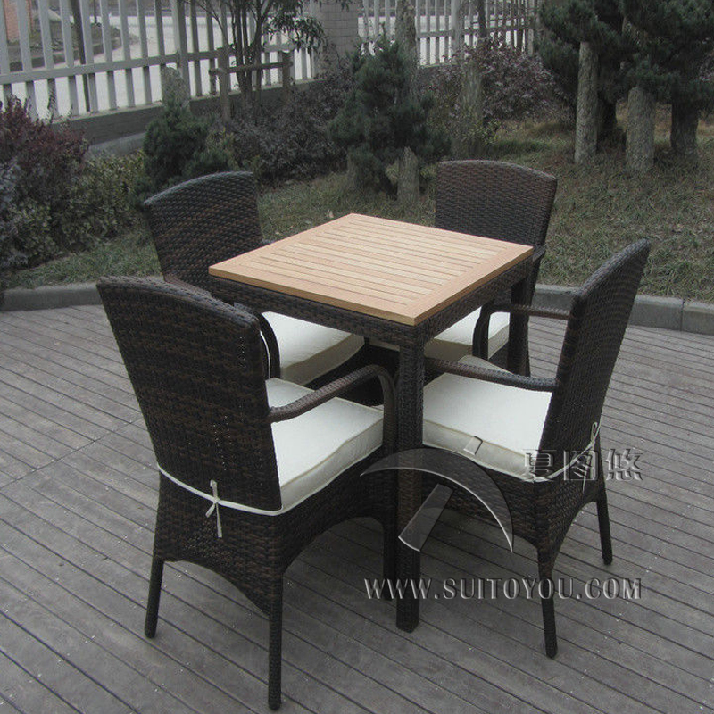 5 pcs Excellent Strong Hand-Woven Dark Brown Rattan Garden Dining Sets transport by sea the dark garden