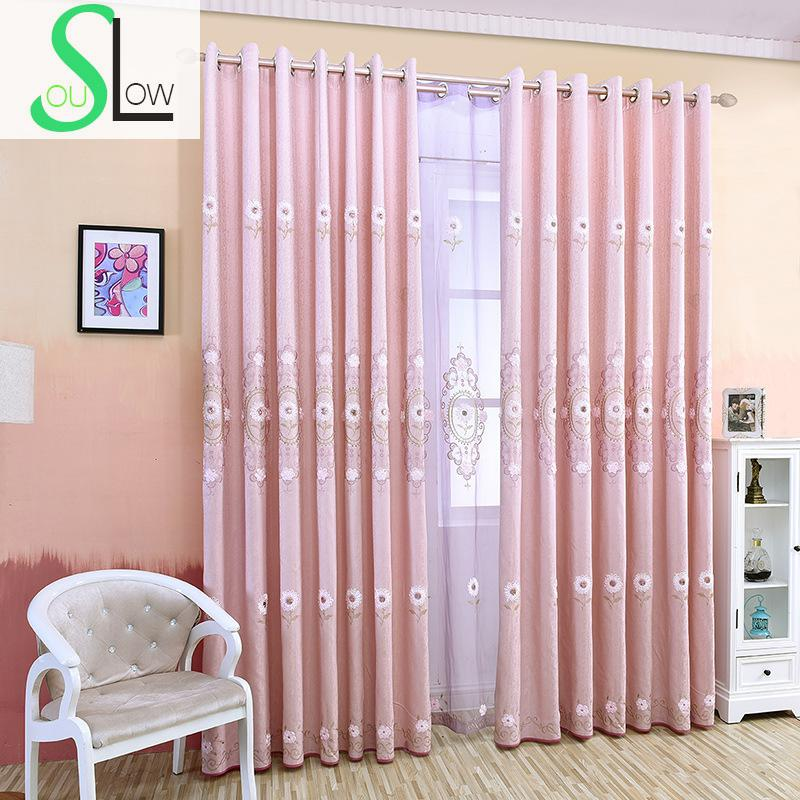 Slow Soul Light Pink Embroidered Curtain Floral Curtains Tulle For Living  Room Kitchen Bedroom Wedding Decoration