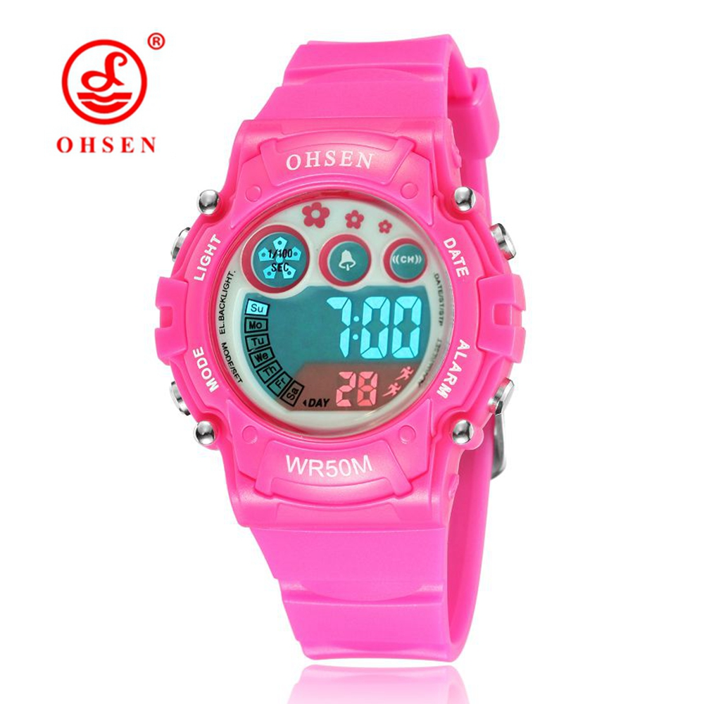 2016 New OHSEN Fashion Girls Kids Digital LED Wristwatch Rubber Band 50M Waterproof Pink Cute Children Gift Watches Stopwatch
