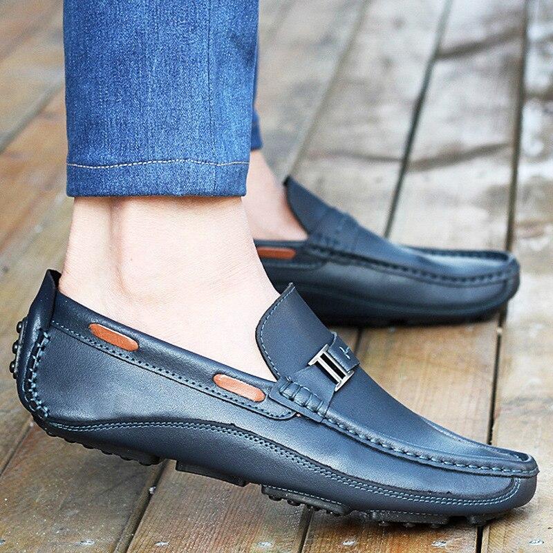 azul Selvagem Dos Peas Casual Novos Preto Handmade Couro Tendência Condução Respirável Britânica Sapatos brown Desgaste De Homens 2018 RUqwC41q