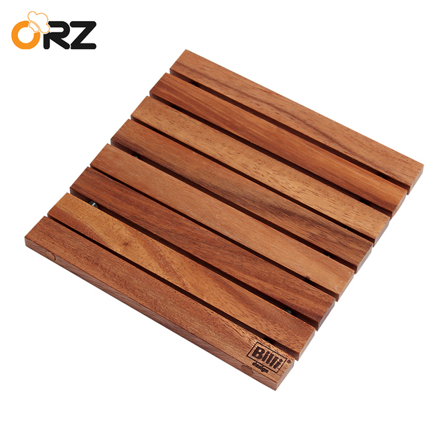 ORZ Wooden Heat Resistant Pad Pan Pot Mat Coffee Tea Cup Coasters Holder  Tableware Kitchen Cooking