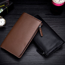 Men Luxury Genuine Leather Long Wallet Male Clutch Bag Fashion Money Bag Zipper Coin Purse Business Credit Card Holder 2018 New