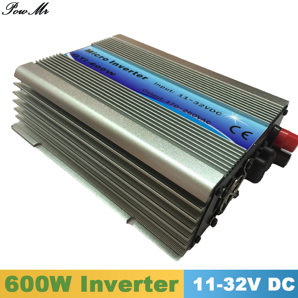 600W Grid Tie Inverter MPPT Function 11-32VDC input 110V 230VAC Micro Grid Tie Pure Sine Wave Inverter 11V 32V to 110V 220V mini power on grid tie solar panel inverter with mppt function led output pure sine wave 600w 600watts micro inverter
