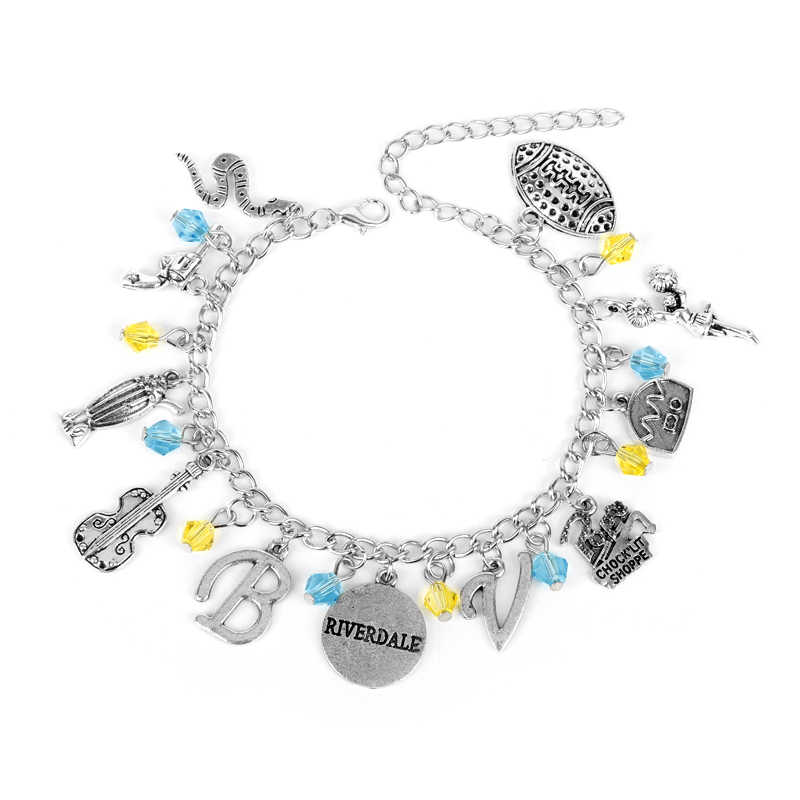 Riverdale TV Series Pop's Chock'lit Shoppe Logo Charm Bracelet Guitar Metal Pendant Bracelets Bangles For Men Women Gifts